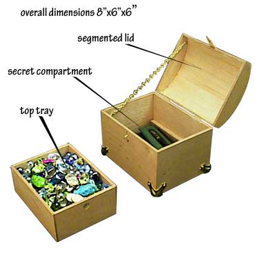 Woodworking plans matching jewelry box and treasure chest boxes