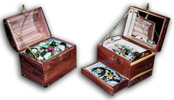 treasure chest and jewelry boxes set